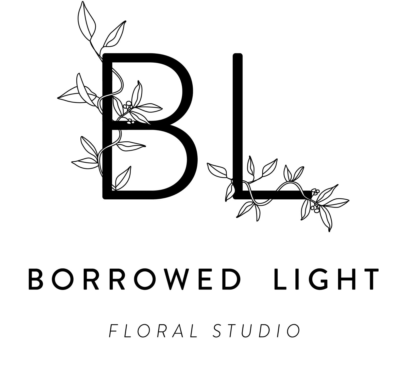 Borrowed Light logo. Initials with leaf design