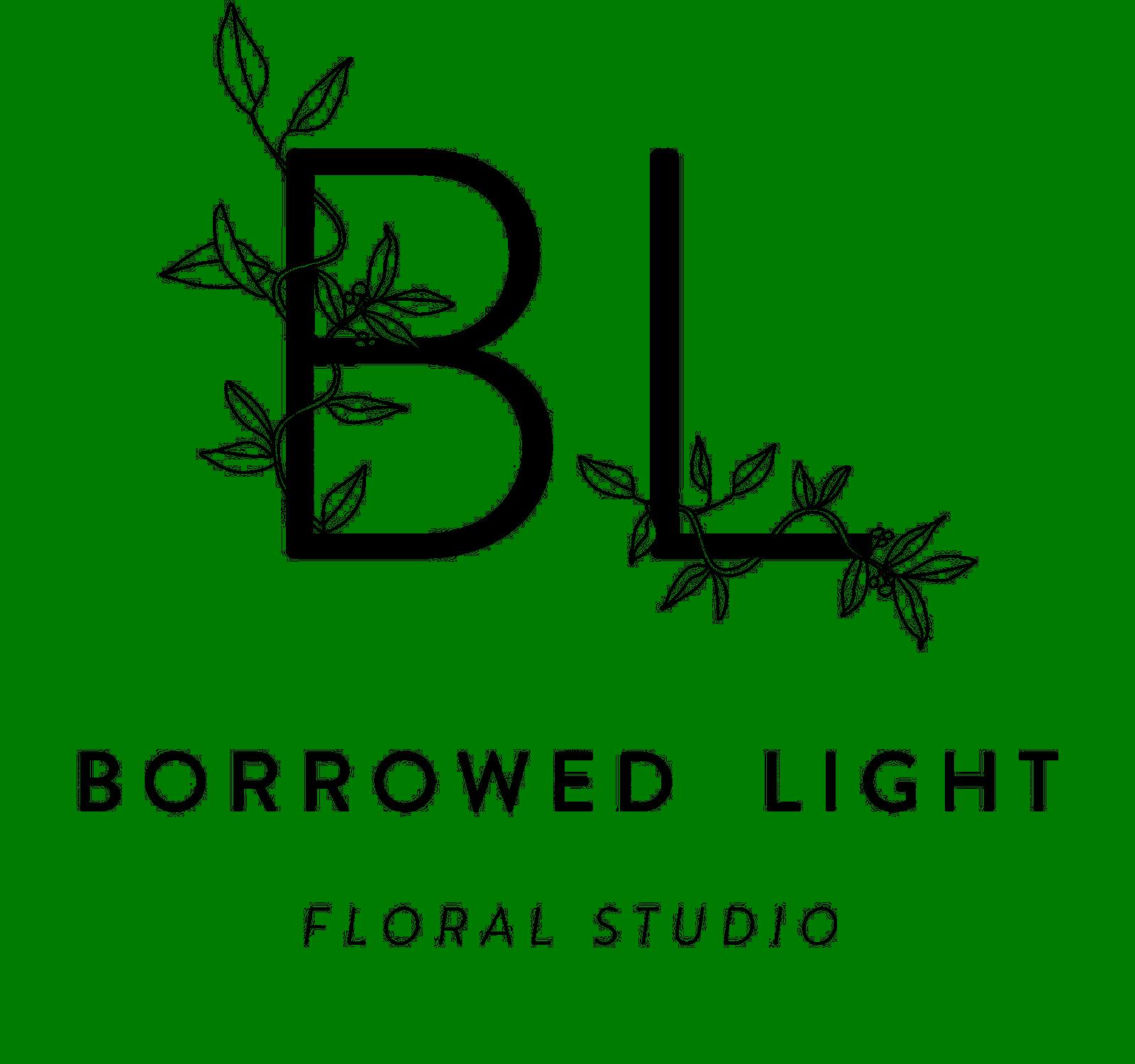 Borrowed Light logo. Initials with leaf design